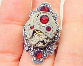 Adjustable Steampunk Ring, Ruby Jeweled Vintage Watch Movement, Red Swarovski Crystals, Filigree Band, Silver Tone Filigree Setting