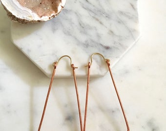 Large copper geometric hoops, mixed metal triangle earrings, geometric copper earrings, copper triangle earrings, hammered copper earrings
