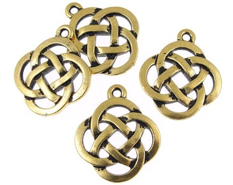 Celtic Circle Pendants - Antique Gold Celtic Charms - Open Knotwork Knot Work Pendants TierraCast  (P410)