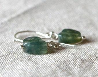 Moss Agate Sterling Silver Heart Earrings