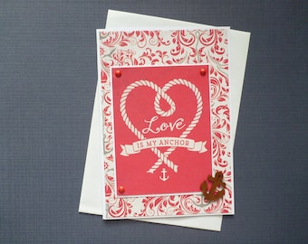 Love Is My Anchor Card  FREE SHIPPING