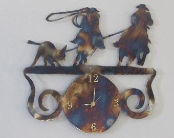 Team roping  clock metal art