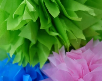 FOUR (4) Key Lime Green Sample PuffScape CONNECTING DIY Tissue Paper Flower Pom Puffs Oscar the Grouch Sesame Street Birthday Shower Wedding