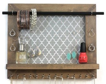 Jewelry Holder - Pick Your Color Quatrefoil - Wall Hanging Jewelry Organizer