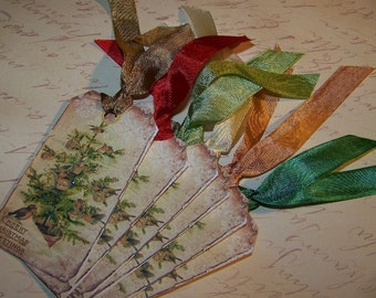 Christmas Tree Tags Christmas Bird Tags Vintage Shabby Rustic Style - Set of 6 or 9