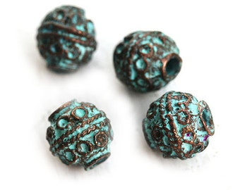 4pc Rustic round beads, Ornament Green Patina on copper, Greek metal casting beads, Lead Free, 8mm - F198