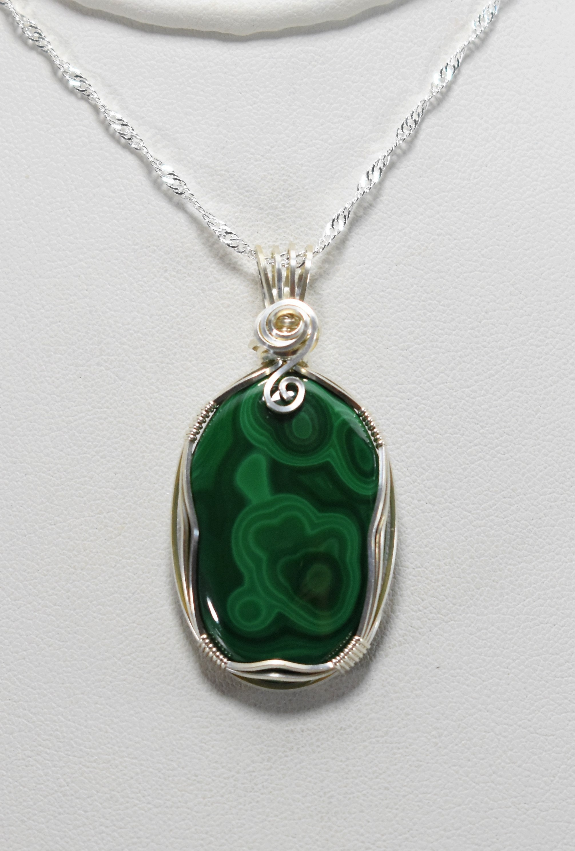 Stunning Malachite Wire Wrapped Pendant-Wrapped in .925 Sterling Silver