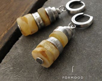 Earrings - raw sterling silver and Baltic amber - hoop, leverback, clip on or hook earwires