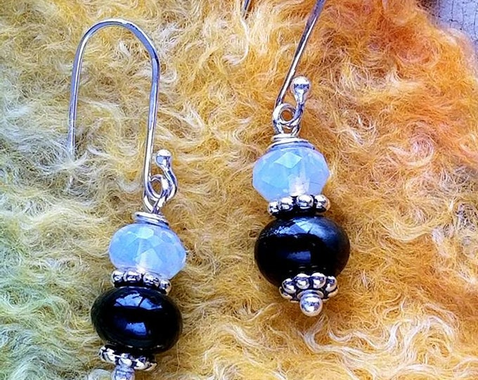 Trillium Moonlight Memorial Earrings, Ashes in Glass, Cremation Jewelry, Pet Memorials