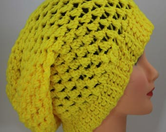 Hand Knitted  Yellow Beanie,  Slouchy Beanie, Head Accessory,  Boho-chic