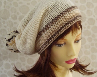 KNITTING PATTERN/ MARTA Womans Slouchy Knit Hat with Giant Pompom Easy Beginners Knit/ Pompom Hat Pattern/Easy Beanie Hat/ Knit in the Round