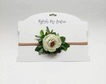 White Vintage Rose Baby Headband Newborn Flower Photo Prop Floral Infant Photography Hairband Baby Shower Gift For Girls Expecting Mothers
