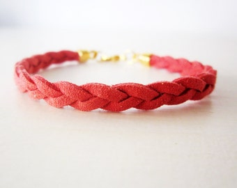 Red leather bracelet, Red braided bracelet, Coral red bracelet, Minimal bracelet, Stacking bracelet, Suede leather rope bracelet coral red