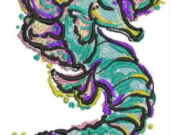 Queen of the Sea Seahorse Embroidery File Instant Download  4x4 and 6x6