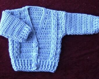 mauve baby cardigan (ref E157)