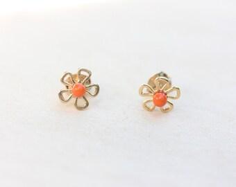 Orange Flower Studs, Flower Studs, Gold Flower Studs, Daisy Studs