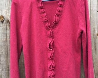 Womens 100% Cashmere Cardigan sweater Ruffle front Garnet Hill size Small Dark Fushia Pink Cranberry cashmere sweater