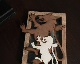 Scottish Rampant lion Mdf layered picture with painted background