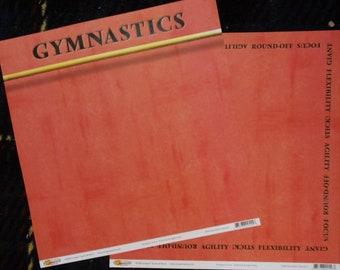 2 Sheets Gymnastics Scrapbooking Paper 12x12 Girl Sports School