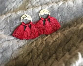 Silk tassel earrings, Red tassel earrings, Boho tassels, Resort earring, Wedding tassel earrings, Mini tassel, Fashion lover, Bohemian