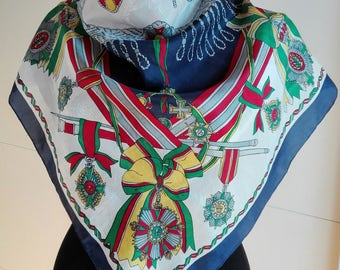 Vintage Silk Scarf / Royal coats of arms / Navy Blue / red / green