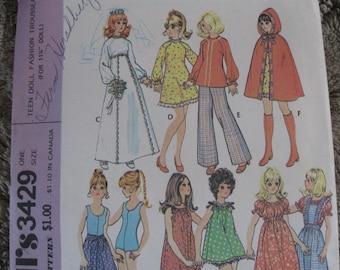 "Vintage 70's  **11 1/2"" Teen Doll Fashion Trousseau**  McCalls 3429  One Size"