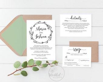 Printable wedding invitation etsy junglespirit Image collections