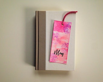 Mother's Day Bookmark-Pink with Purple Flowers, Flower Bookmark, Unique Gift For Mom, For Her, For Woman, Book Lover, Bookworm Gift.