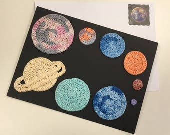 Hand-dyed Crocheted Solar System Greeting Card