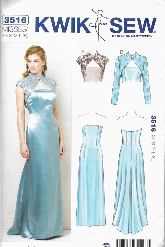 Kwik Sew 3516 Evening, mother of bride, prom dress with jacket Size ...