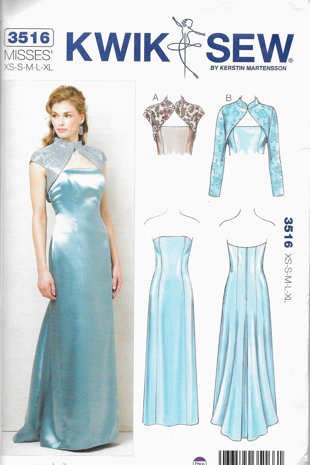 Kwik Sew 3516 Evening mother of bride prom dress with jacket Size