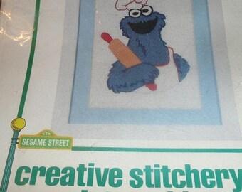 Vintage Vogart Crafts Sesame Street Cookie Monster Creative Stitchery  Kit