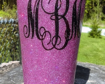 Hand Glittered Stainless Steel Tumbler,Over 75 Colors of Glitter