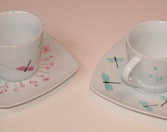 Service 6 v dragonflies and porcelain floral tea cups