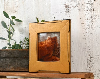 """4x4"""" Square Picture Frame in Vintage Old Gold Finish in Cortez """"Bones"""" Style - IN STOCK - Same Day Shipping - Rustic 4 x 4 Photo Frame"""
