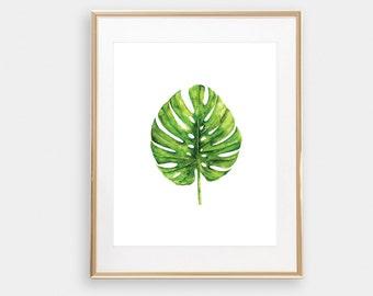 Tropical Art, Palm Wall Art, Beach House Prints, Monstera Plant Leaf Print, Plant Art, Leaf Print, Tropical Leaves Art, Palm Print