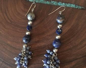 Blue lapis dangle earrings, lapis sterling silver earrings