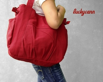 Mother s Day Big Sale IRIS // Red / Lined with Beige / 053 // Ship in 3 days // Messenger / Diaper bag / Shoulder bag / Tote bag / Purse / G
