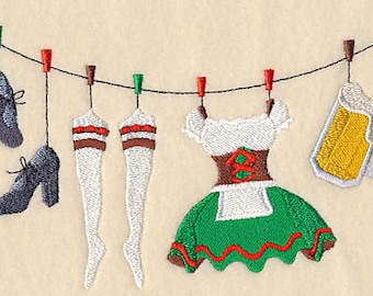 Oktoberfest Beer Maid Clothesline Embroidered Flour Sack Hand/Dish Towel