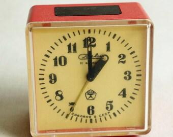 "Soviet alarm clock ""Slava"" - Vintage, small  red Alarm Clock - Russian mechanical clock - Old alarm clock  - Mechanical clock 80s"