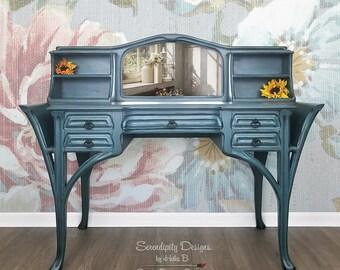 Gorgeous Desk/Vanity, Custom, Creative, Refinished, Handpainted desk, vanity