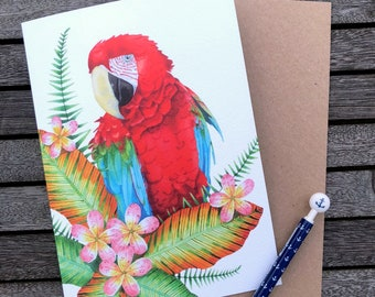 A Scarlet Macaw Watercolour A5 card