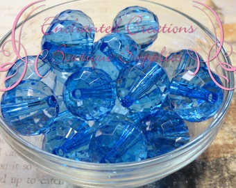 20mm Transparent Royal Blue Faceted Disco Ball Acylic Beads Qty 10