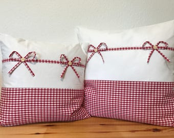 Country house Style Pillow case * Pillow cover * Red/white 40 x 40 cm.