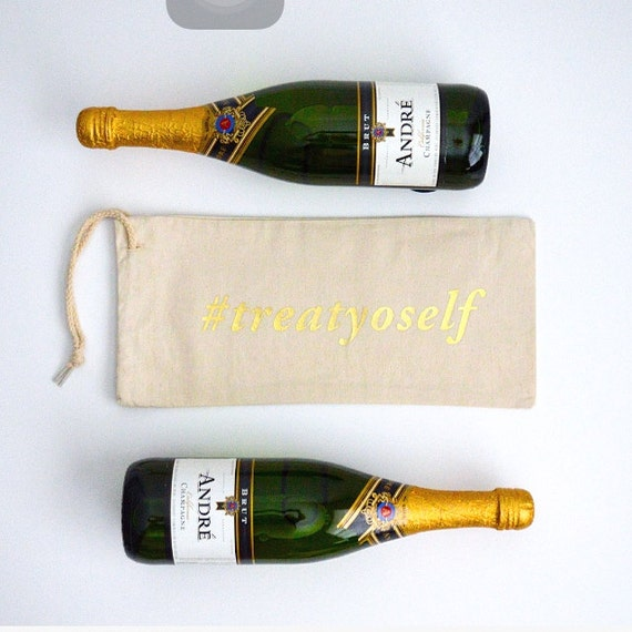 Hashtag TreatYoSelf - Canvas Drawstring Wine Bag: Gold Lettering
