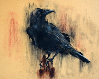 Charcoal Crow Drawing Original Raven on a Branch Art 12x8""
