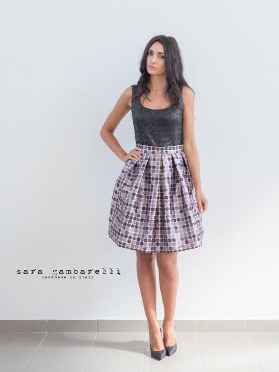JACQUARD PURPLE SKIRT, prom skirt, metallized skirt, pleated skirt, full skirt, purple party skirt