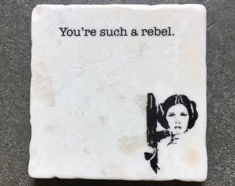 Princess Leia Coaster,  Gift for him, Gift for Men, Star Wars Gift, Star Wars Stone Coasters, Princess Leia, Stone Coasters