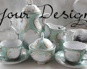 BACK in STOCK - Green & Gold Customizable Tea Set, Personalized Tea Set, Custom China, Monogram Tea Set, Bespoke Tea Set, Personalized Cup