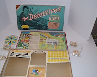 """Vintage 1961 Transogram """"The Detectives"""" Board Game - Robert Taylor On Cover"""